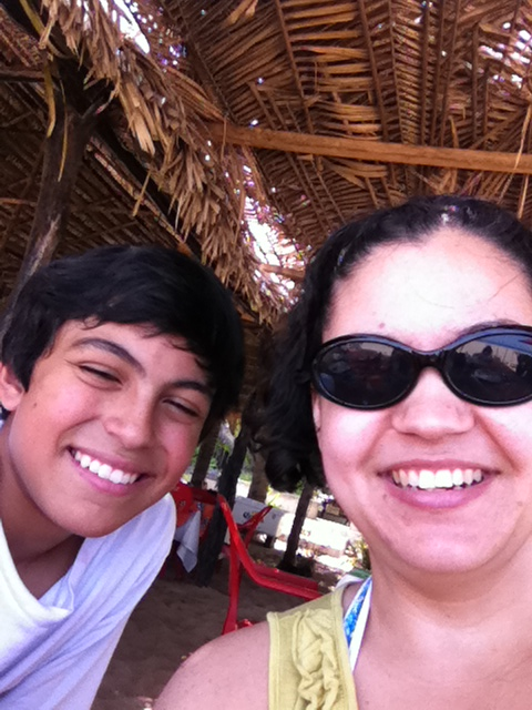 Big Son and me at lunch under the Palapas on Playa San Pancho